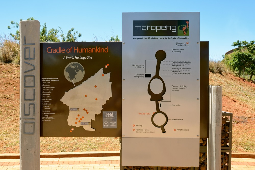Discover board with an overview about the Cradle of Humankind facilities, Maropeng, South Africa.