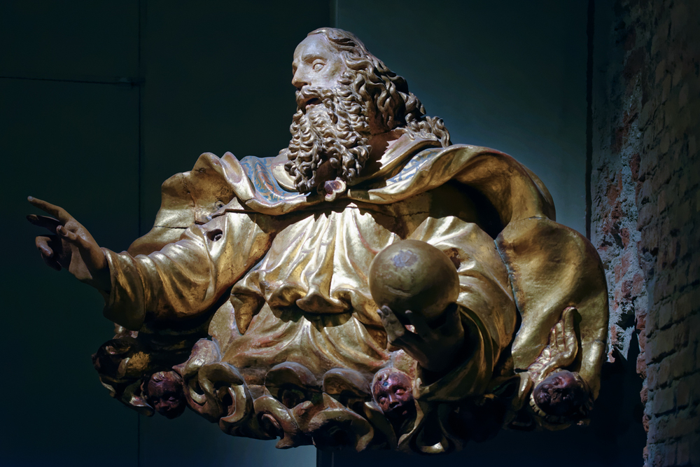 God the Father , Battista da Corbetta(?), 1554(?). Gilded and painted carved wood. Duomo di Milano, Museum.