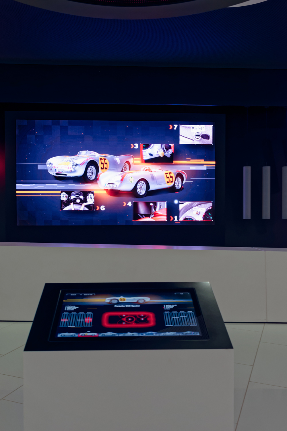 The new display to simulate the sounds of different pats of the Porsche.