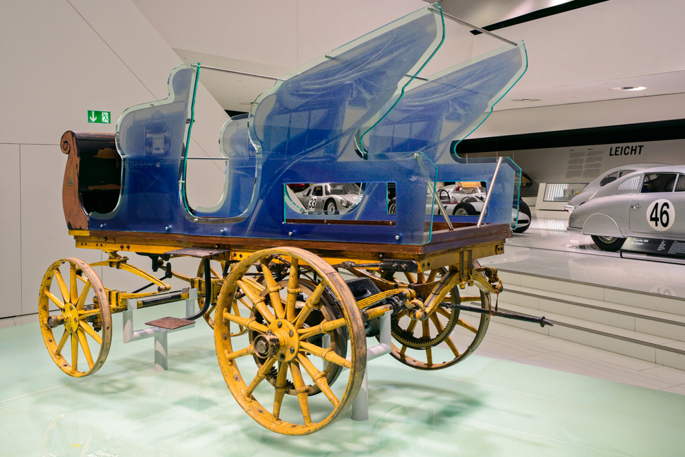 Egger-Lohner-Elektromobil Modell C.2 Phaeton.  Although at first glance it may resemble an old horse carriage, this model actually represents the world`s first Porsche construction  with an electric motor from 1898.