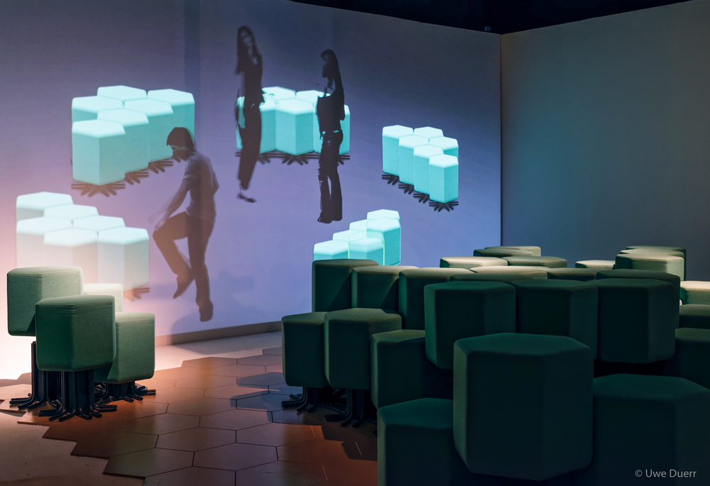 "Exhibition  ""ROOMS"" , 2 APR - 12 SEP 2016.   ""Lift-Bit"" , Carlo Ratti.  The world´s first internet-connected sofa. The design consisted of an upholstered modular and reconfigurable seat, which leverages Internet-of-Things (IoT) technology, making for a new living experience."