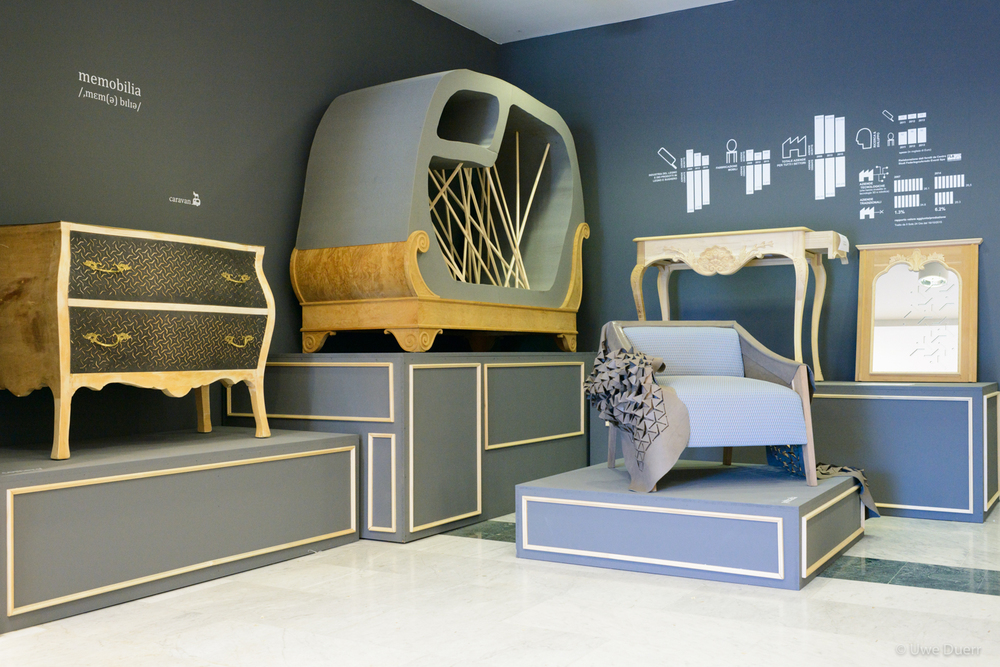"Exhibition  ""Memobilia"".   Memobilia links crafted unfinished classical furniture and digital fabricated elements. Due to the crisis many companies of the Italian furniture district had to close; the furniture of this collection were all lying in a defaulted family workshop."