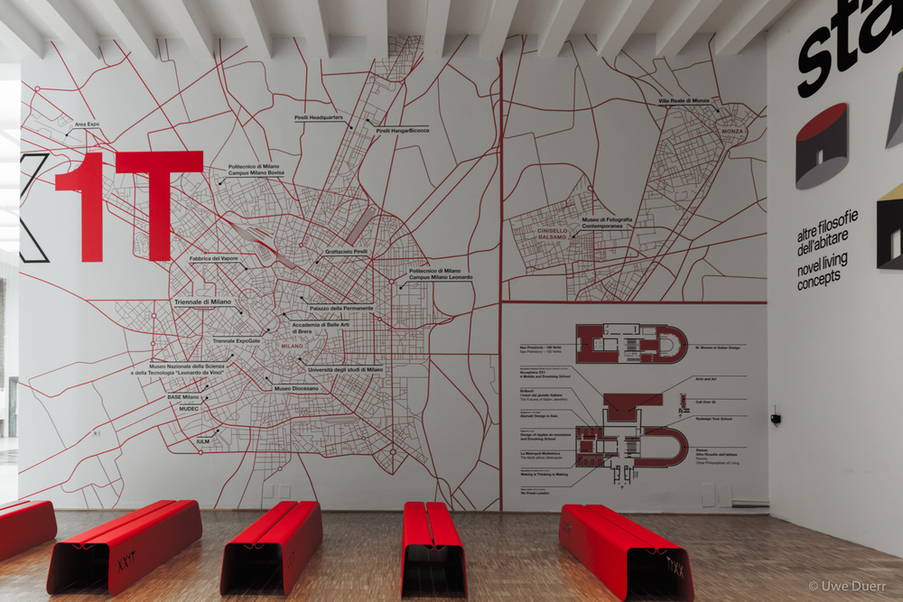 Map with the different locations of the XXI Triennale International Exhibitions, in and outside of Milan in 2016.
