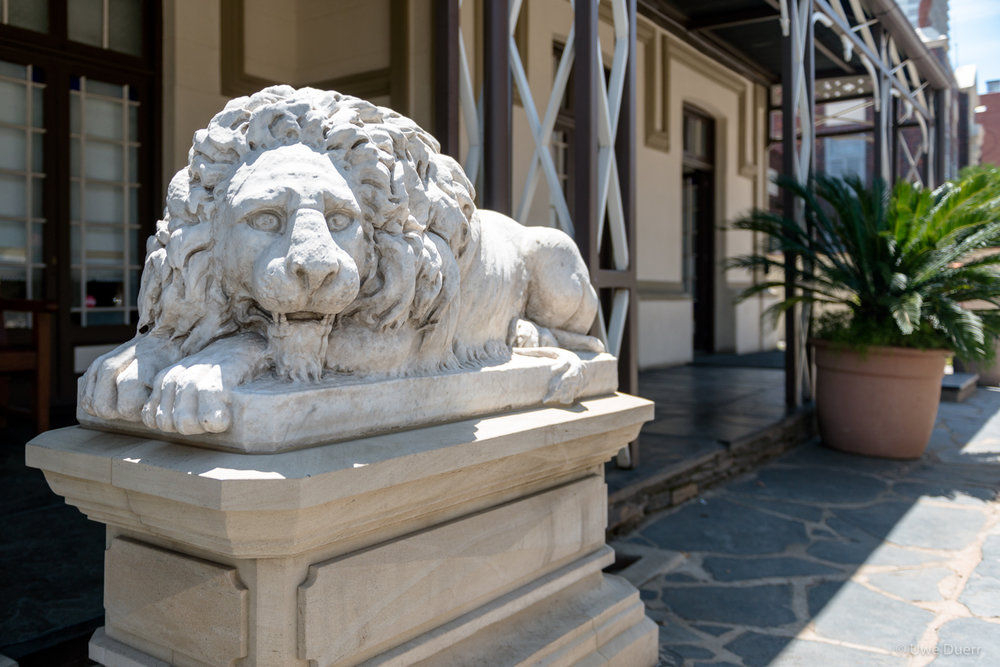 The two stone lion sculptures located on either side of its entrance were presented to President Kruger as a mark of appreciation by mining magnate Barney Barnato.