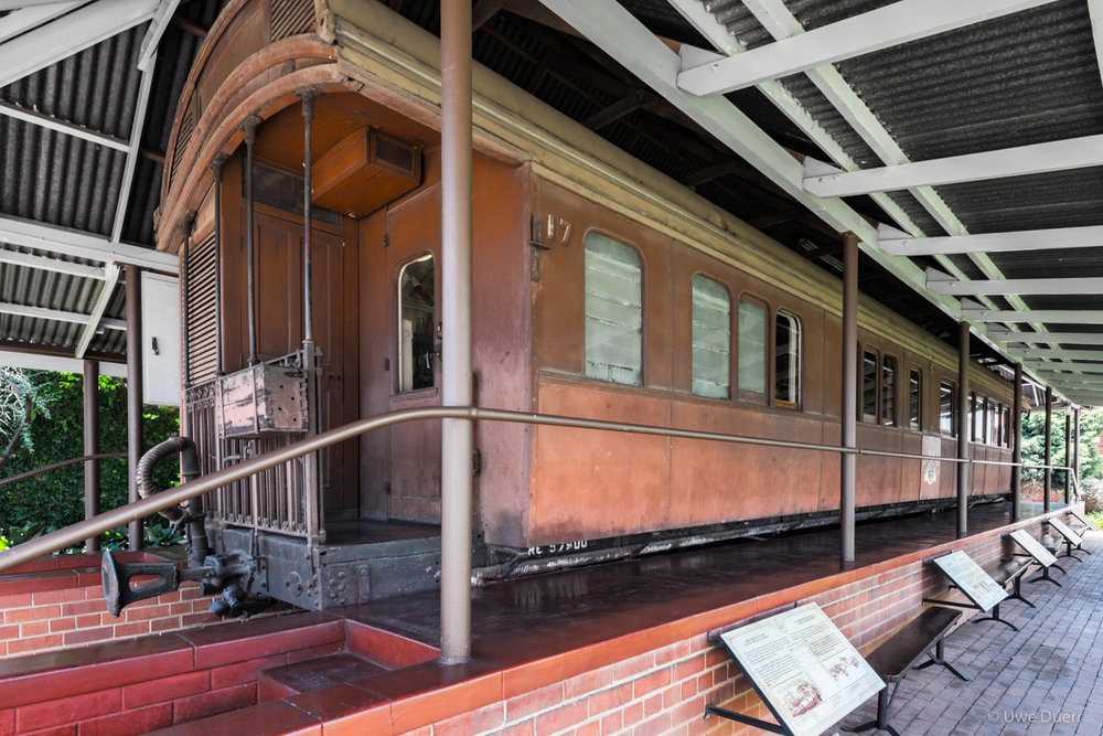 Details of the railway coach and the signs with additional information at the Paul Kruger Museum, Pretoria.
