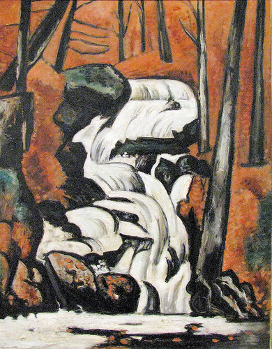 """Smelt Brook Falls"", Marsden Hartley (American, Lewiston, Maine 1877–1943 Ellsworth, Maine), 1937, Oil on commercially prepared paperboard (academy board)  The Met Breuer, 2017"