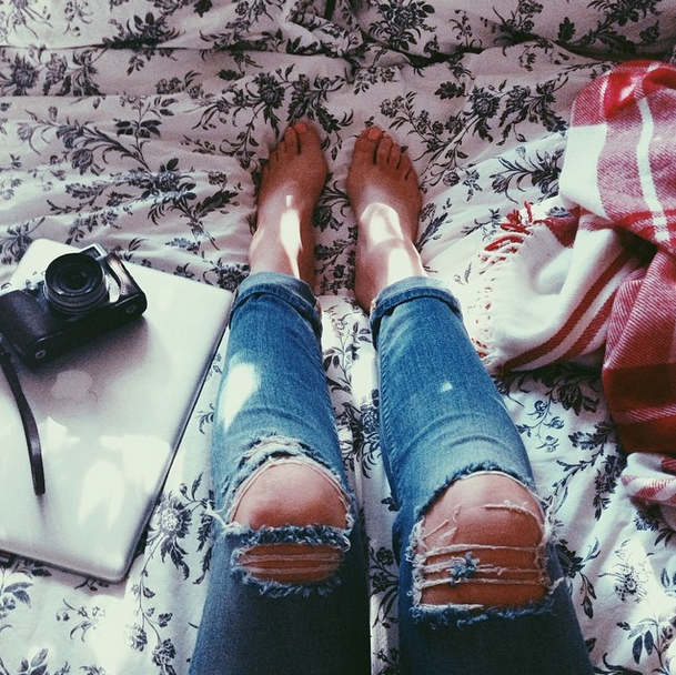 ripped-jeans, camera & macbook