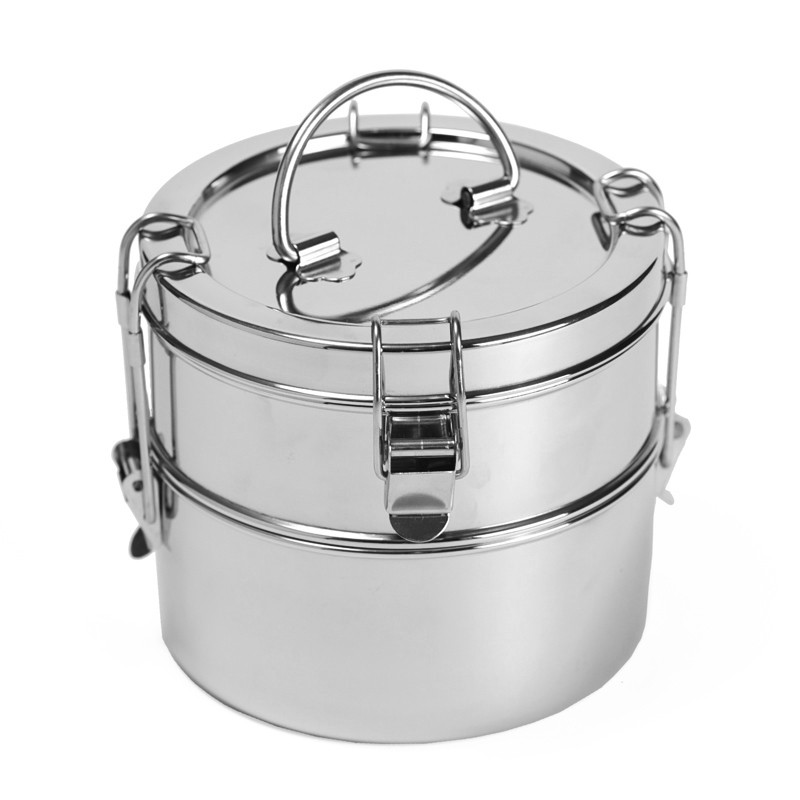 2 Tier stainless steel Indian Tiffin Lunch Box - Ideal for work lunches or picnics