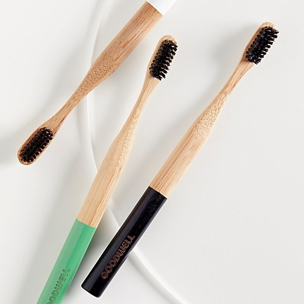 Goodwell Bamboo & activated Charcoal Toothbrush  -  Balances your mouth's PH! 100% Vegan