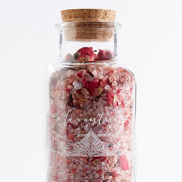 Lux Aestiva Elysian Bohème Bath Crystals - For a detox bath, Himalayan sea salt and dried flowers