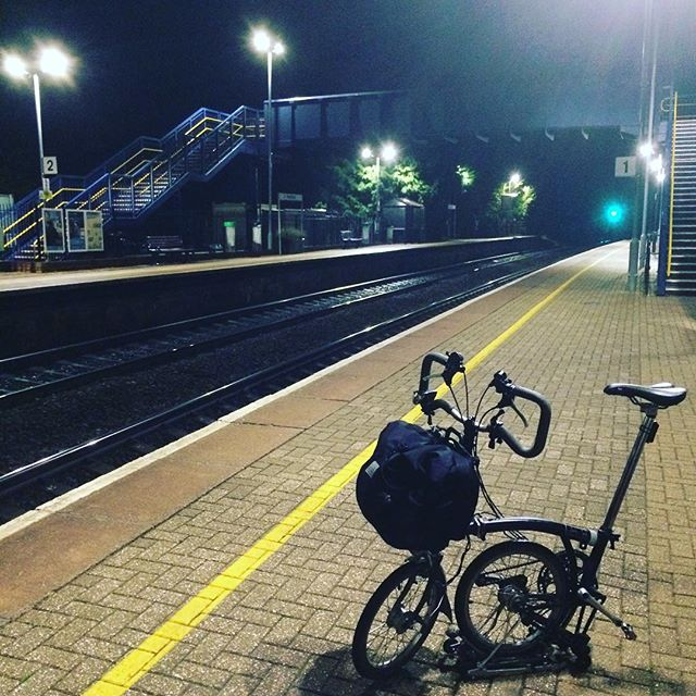 Joys of my #Brompton No. 1: finishing a performance and then threading my way through pitch-black lanes to deserted country stations for the last train.