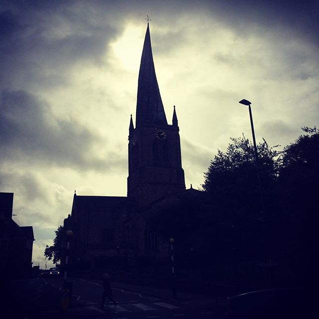 I've always wanted to see Chesterfield's crazy spire up close, so it's lovely to be singing underneath it today!