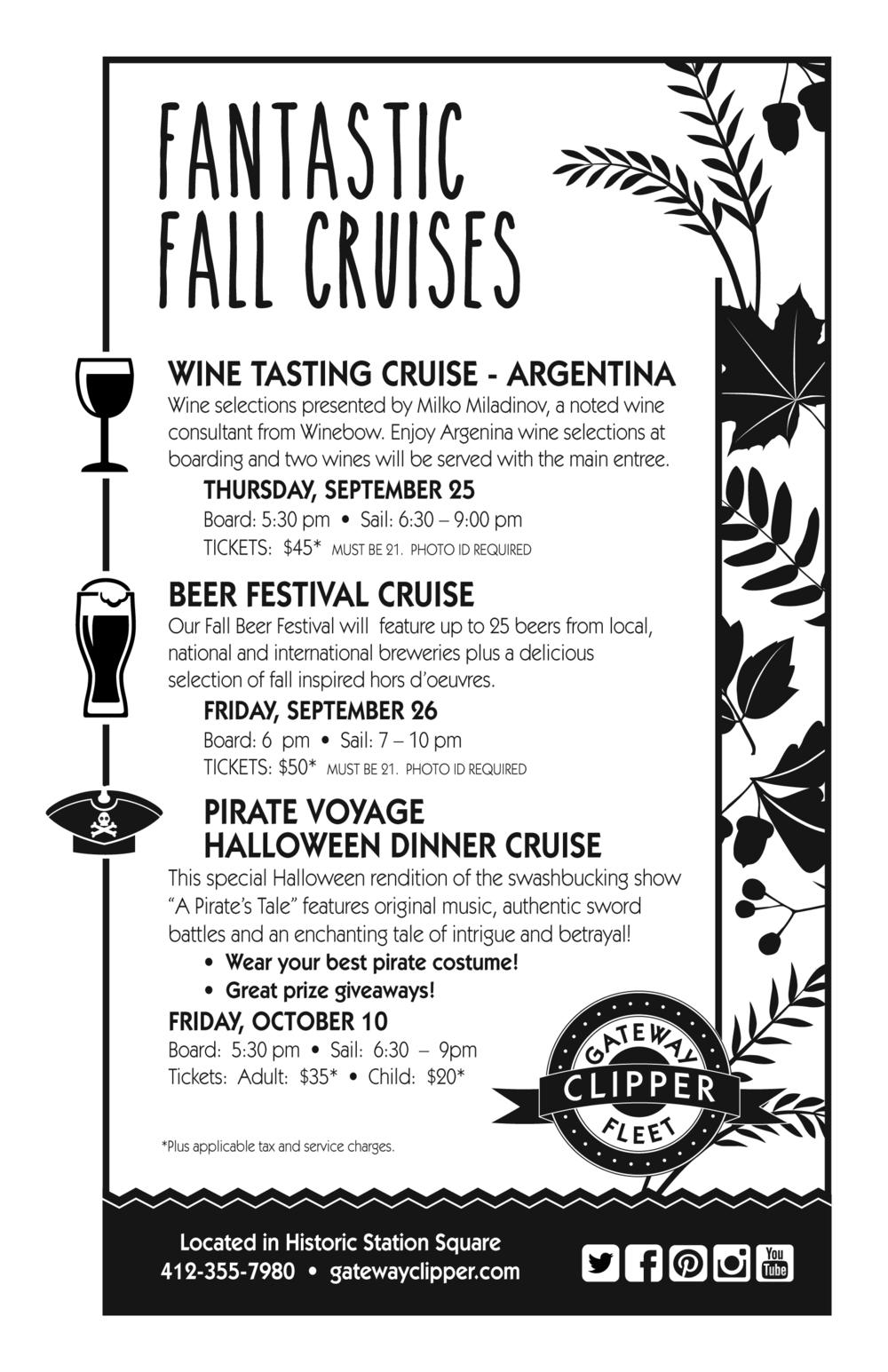 Flyer highlighting Fantastic Fall Cruises