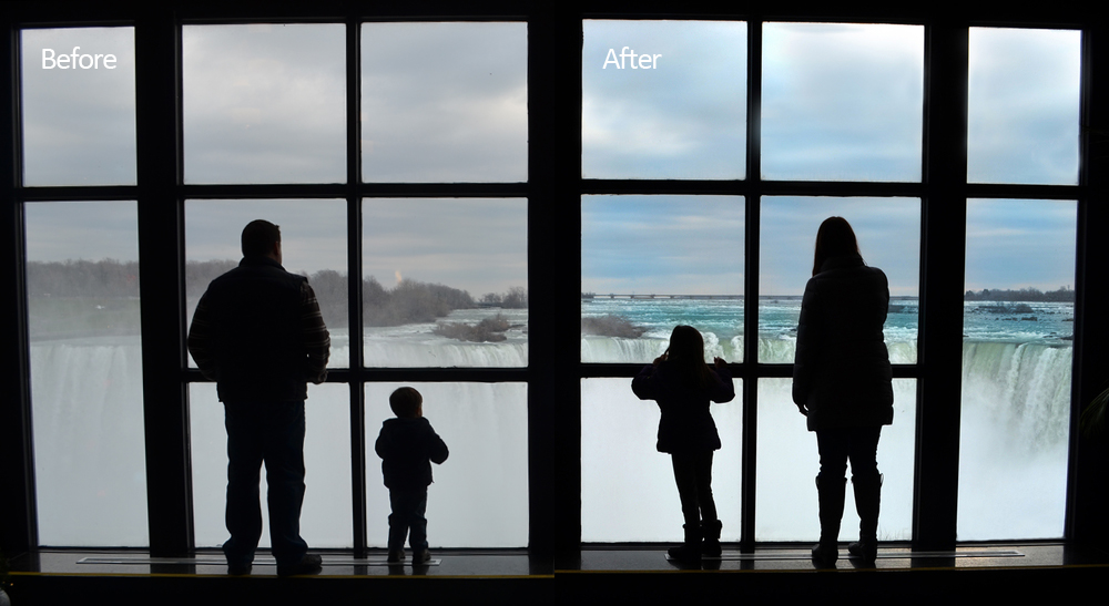 I spotted my Sister-in-Law and my niece in this position... then told my brother to get my nephew in the other two windows.  This was the result.. my brother's family gazing down at Niagara Falls from the upper level of the Welcome Center.  Taken Thanksgiving Weekend of 2014, I loved how the composition came out... but didn't love the grey November day.  I had to add a little color to it.