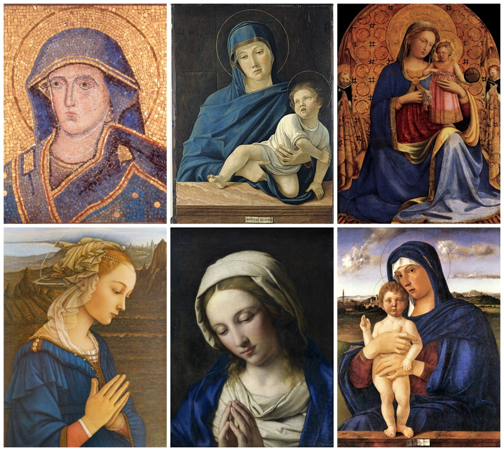 From Left to Right (Top-Down): Head of the Madonna (1296); Madonna and Child (1486); Madonna and Child (1433); Madonna Delle Roccie by Fra Filippo Lippi; Praying Madonna (1660); Madonna (Italian Early Renaissance)