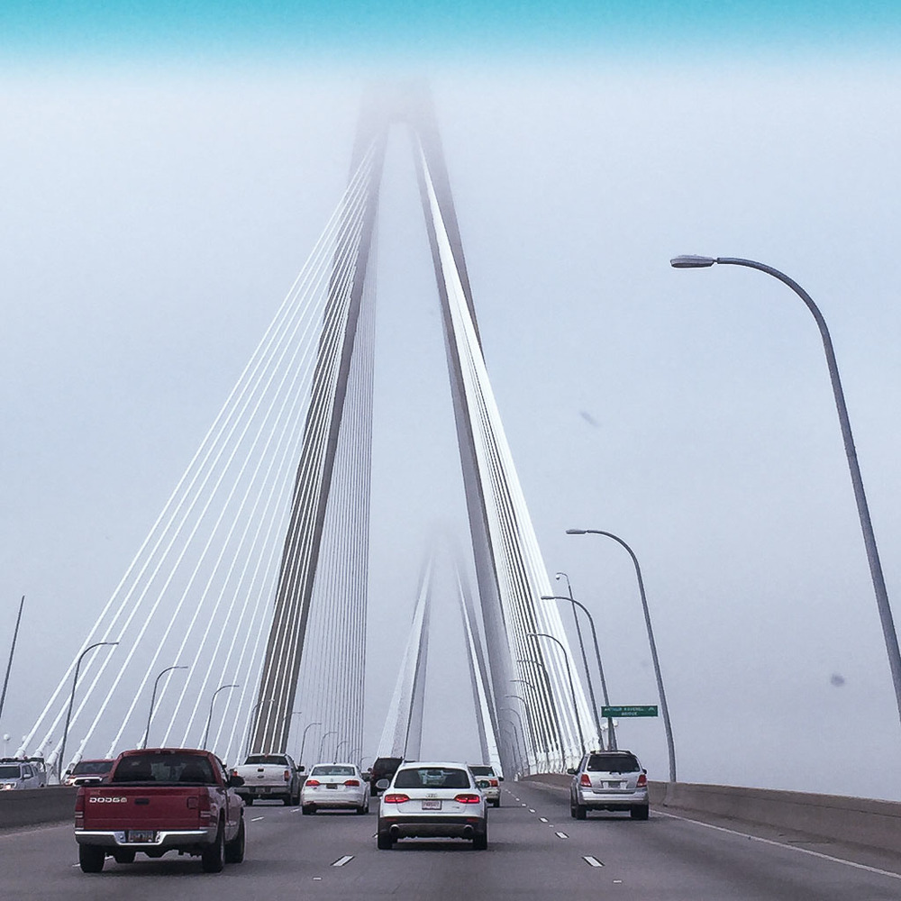 Going over the iconic bridge coming into downtown Charleston - love the architecture!