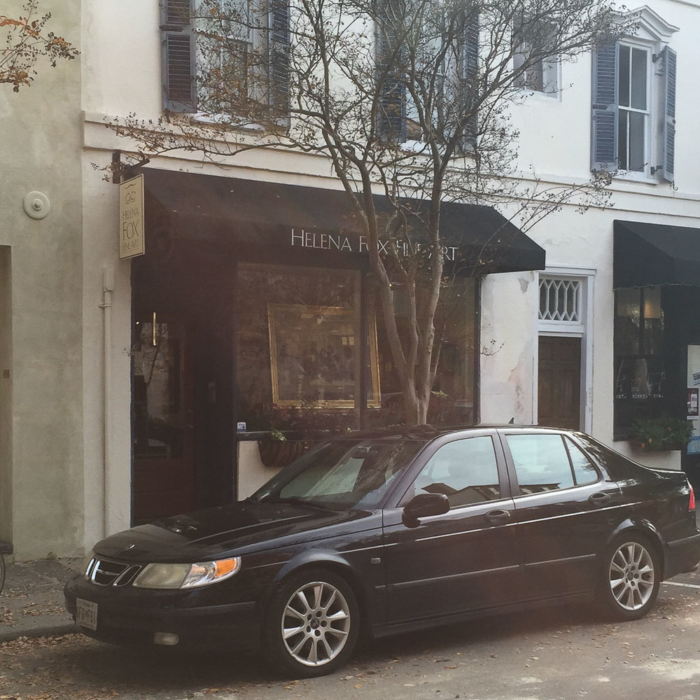 The Helena Fox Fine Art Gallery down on Church Street.  I tried to get a photo without a car parked out front, but if you know Charleston, you know that parking is a scarce commodity there!