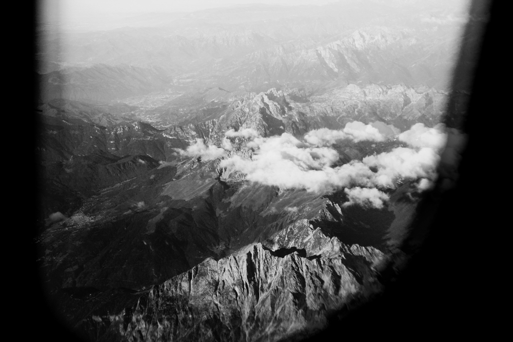 Early flight over the Alps