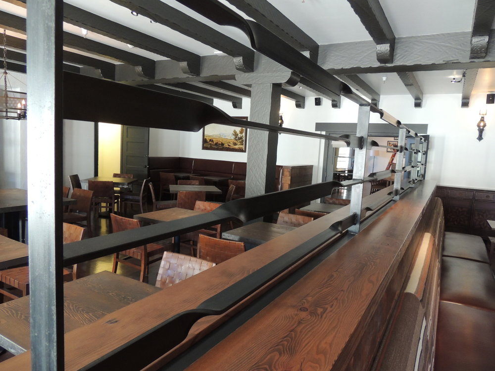 Custom metalwork installed by Fineline at San Francisco's Arguello Restaurant.