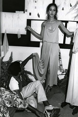 Pat Cleveland being fitted by Steven Burrows, Palace of Versailles, 1973