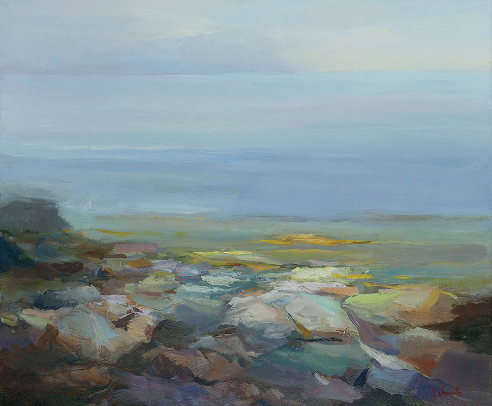 Rocky Shore and Distant Fog Bank, oil on linen, 30 x 36""