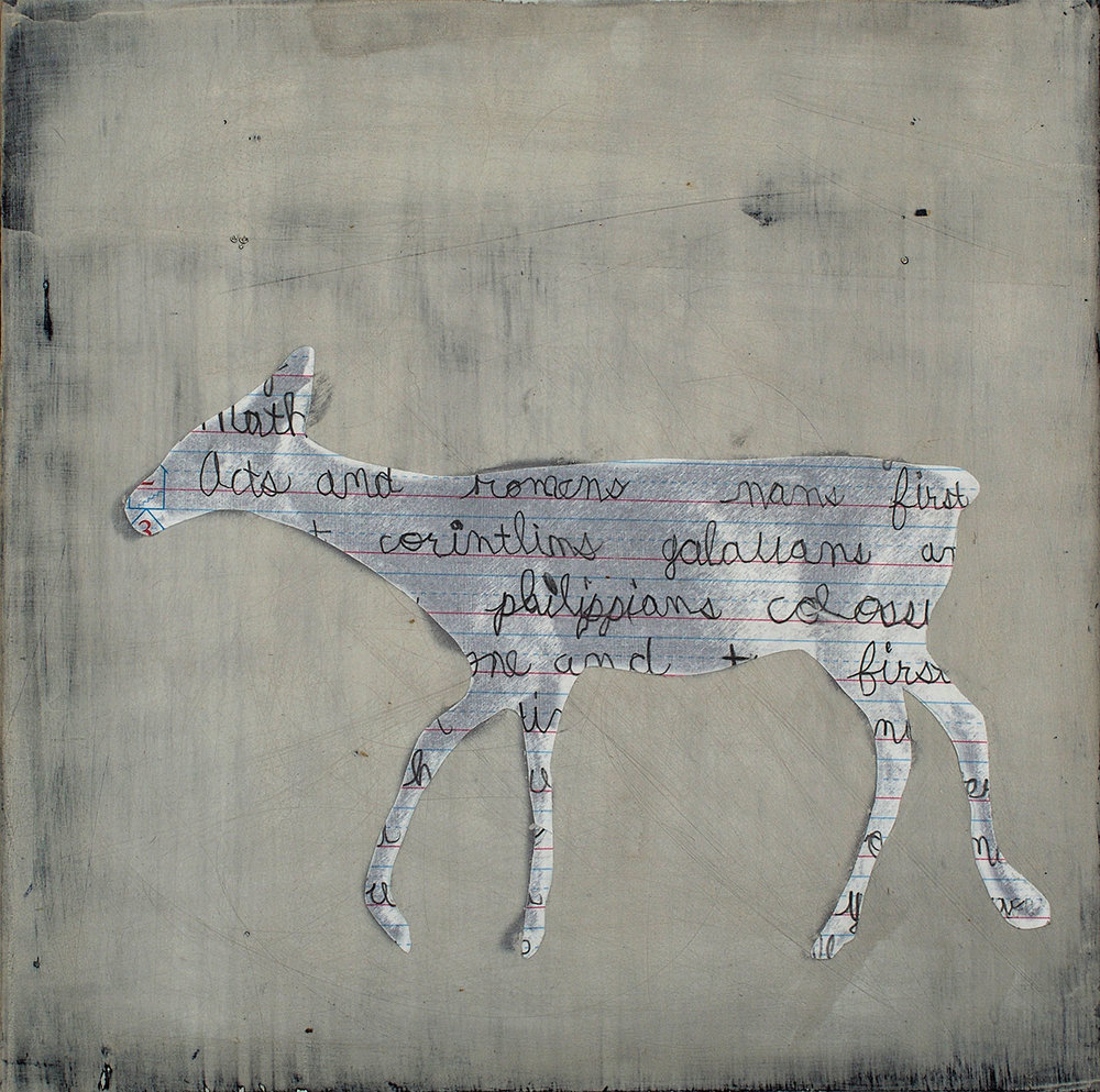 Deer With Words II, mixed media, 12 x 12""