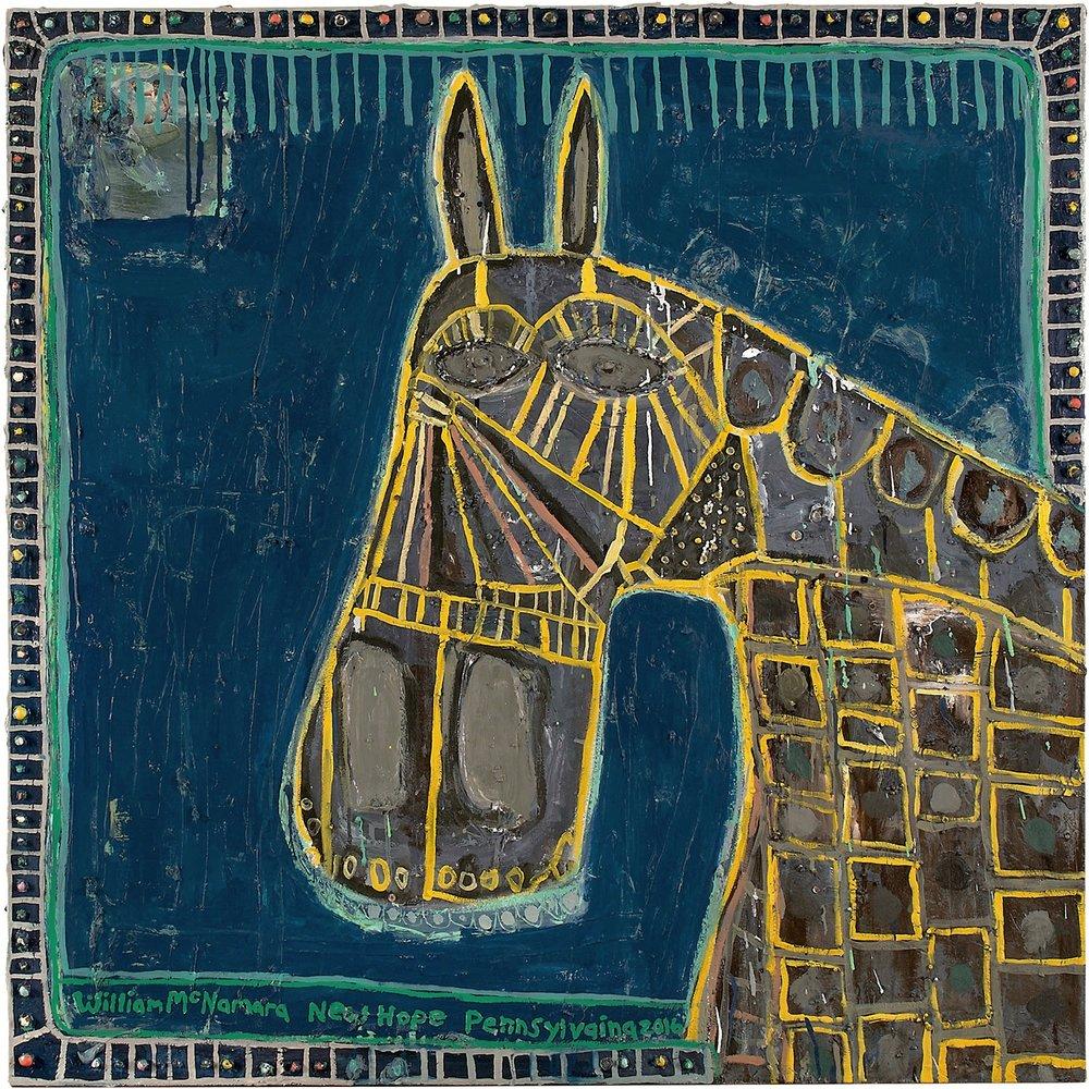 """Horse Head, (Night) , mixed media, 48 x 48"""""""