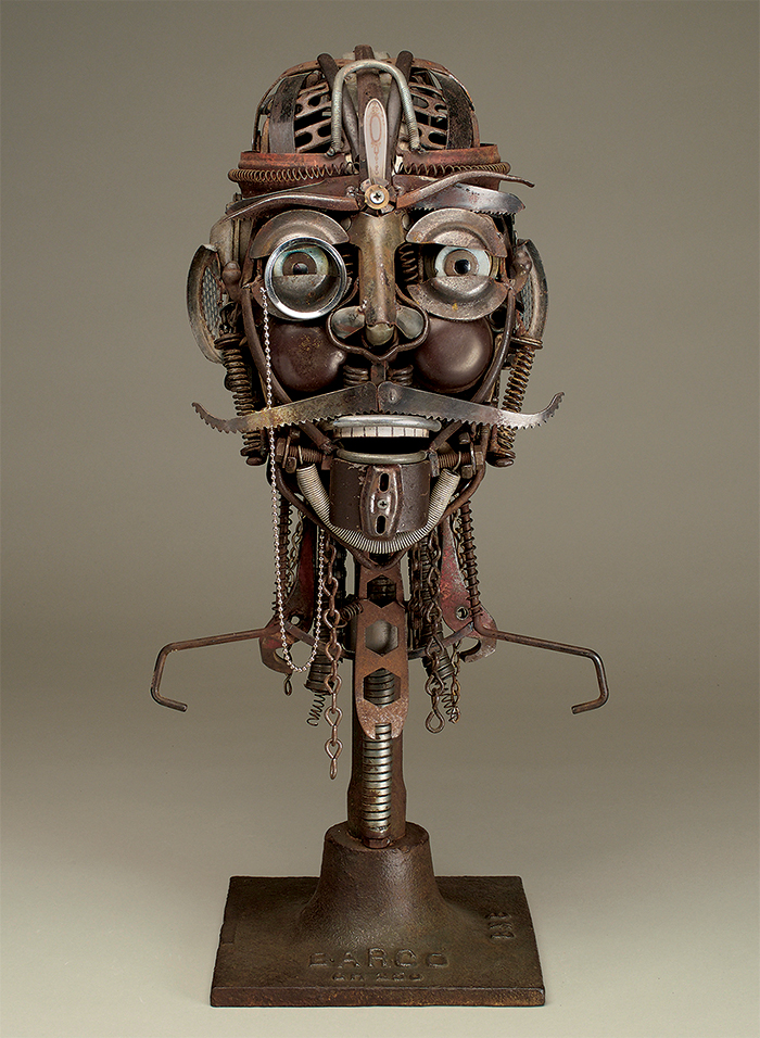 """Mustache and Monocle, repurposed metal, 23 x 9 x 11"""""""
