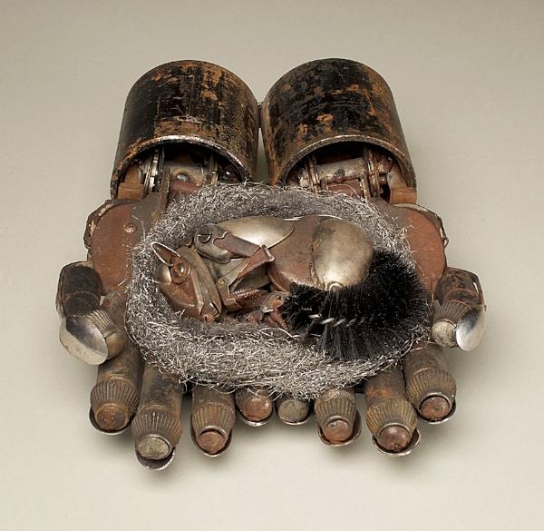 """Hibernator, repurposed metal, 4 x 9 x 11"""""""