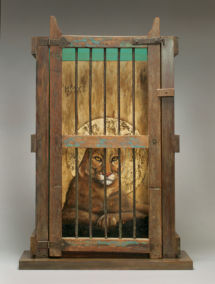 Eastern Cougar, extinct 1937, oil paint, gold leaf, salvaged wood, 39 x 26 x 9 inches