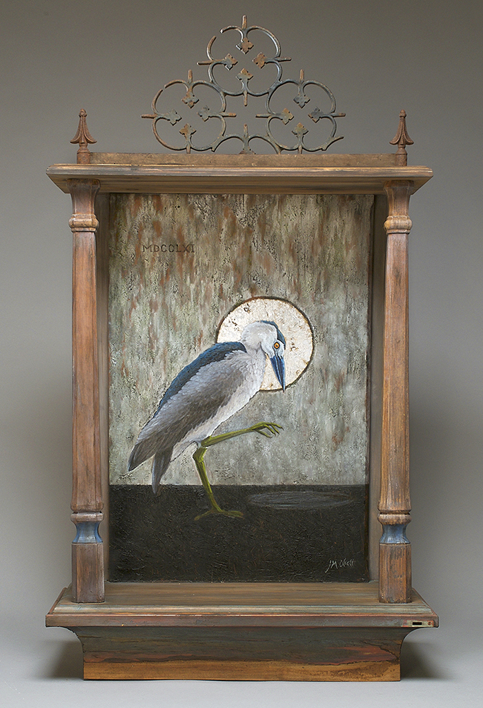 Rodrigues Night Heron, extinct 1761, oil, gold leaf, salvaged wood, 46 x 26 x 12 inches