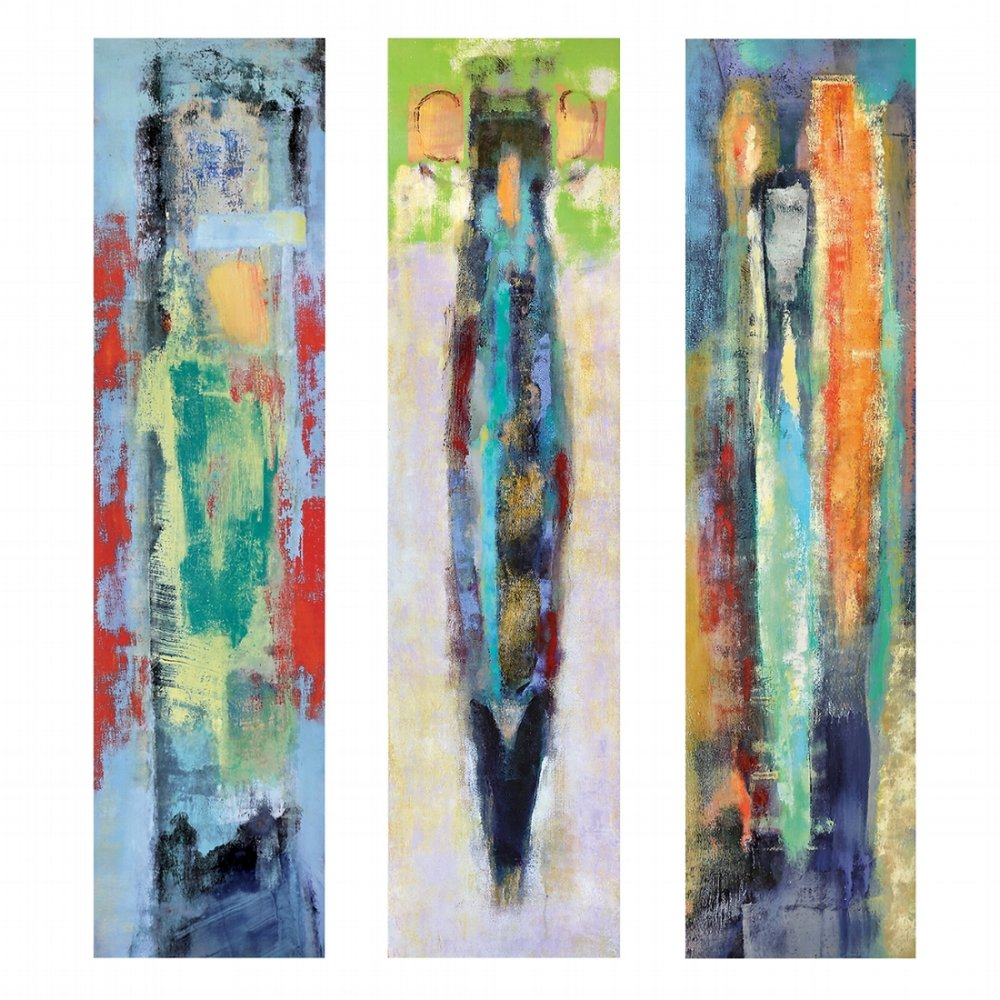 Kerry Triptych , three acrylic panels, 12 x 48 inches