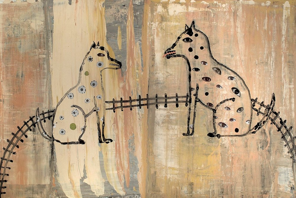 """Two Dogs Barking, mixed media, 24 x 36"""""""