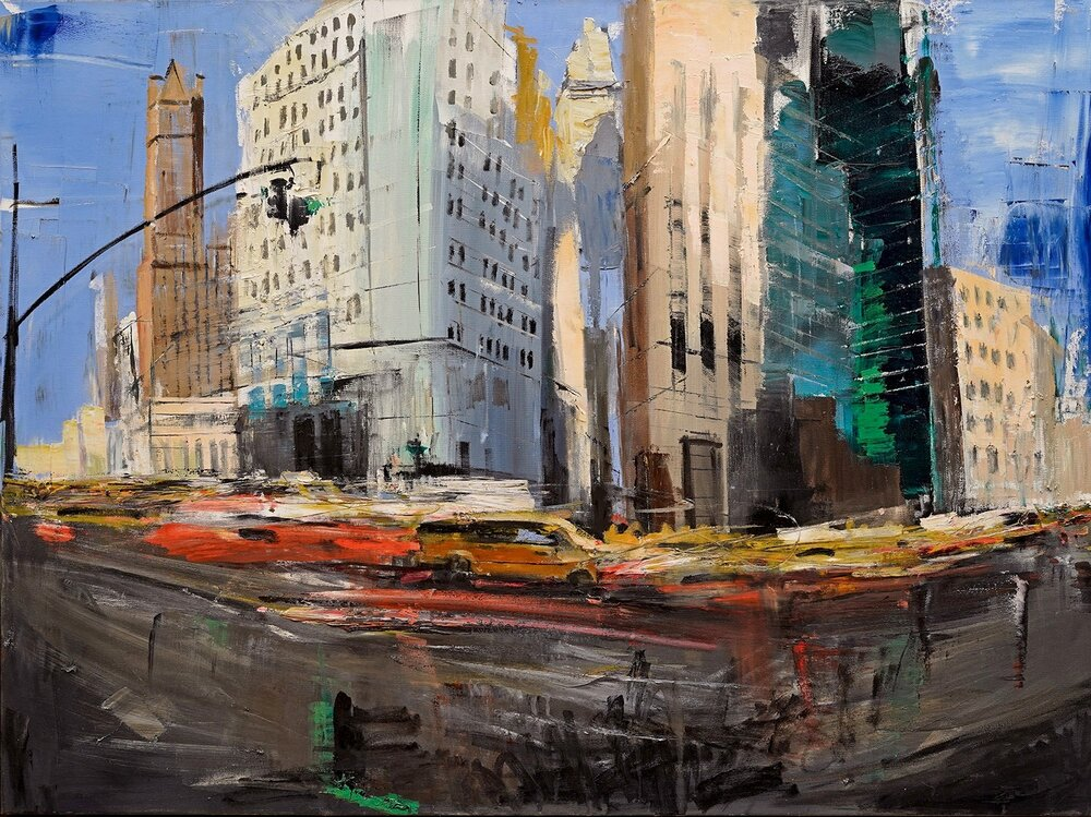 Rush Hour, oil on canvas, 30 x 40""