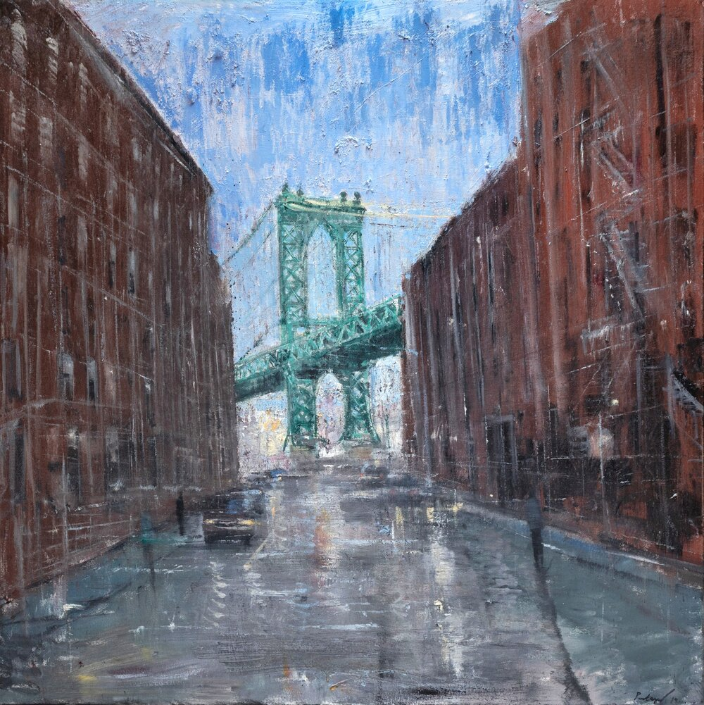 Manhattan Bridge Study, oil on canvas, 36 x 36""