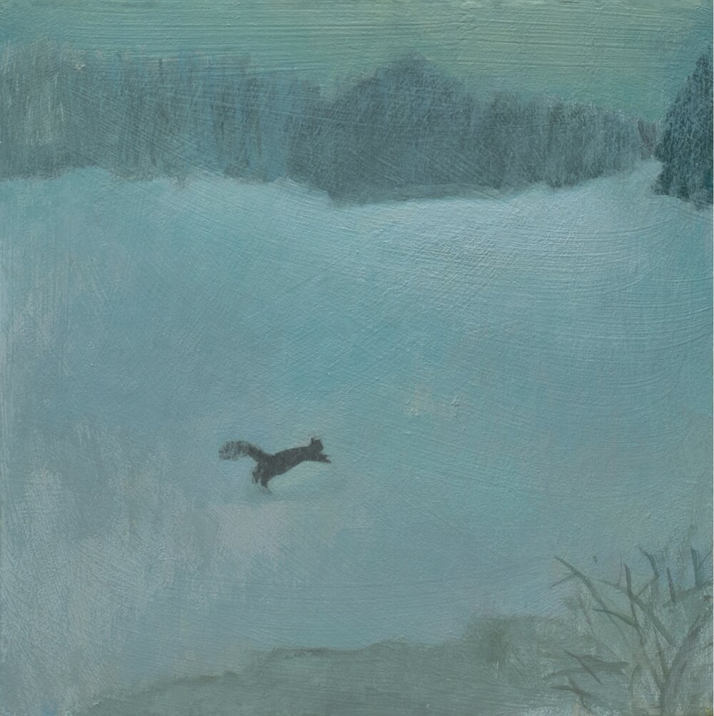 """Squirrel in Winter, acrylic on wood, 7 1/4 x 7 1/4"""""""