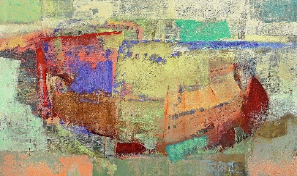 """Sprung II, acrylic on panel, 32 x 64"""""""