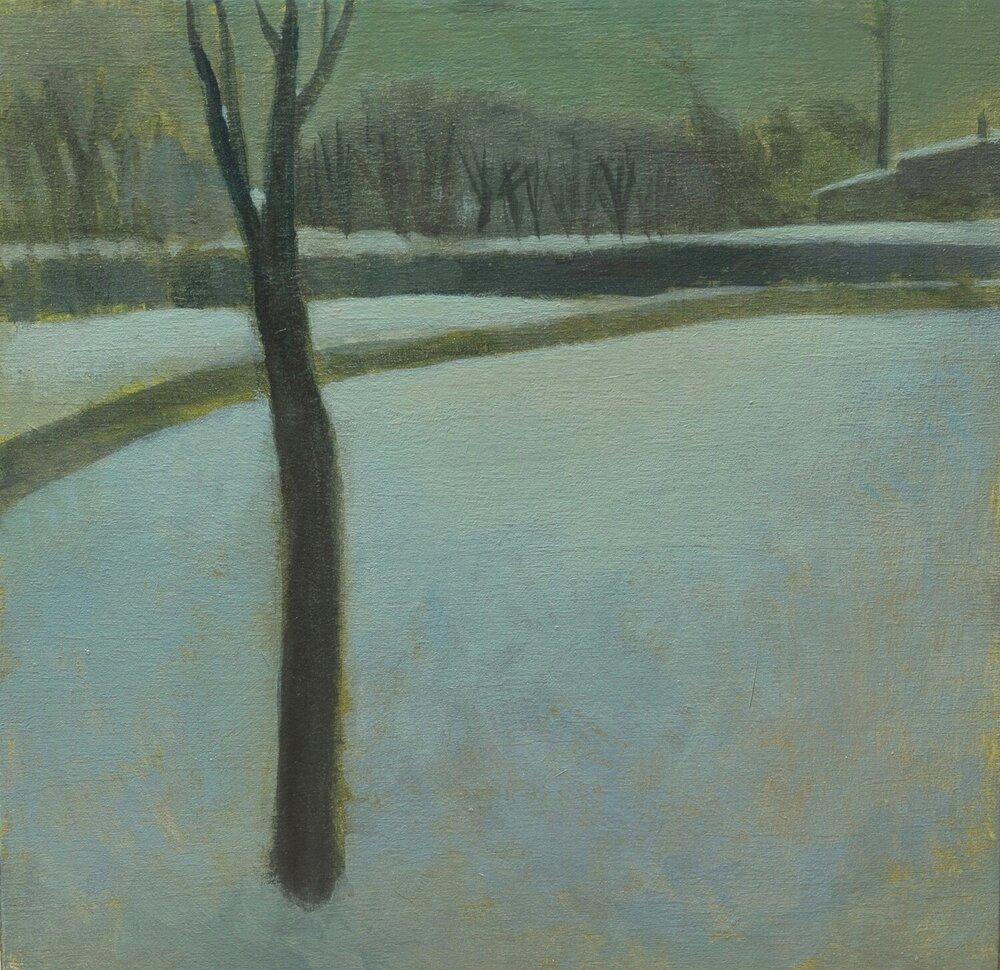"Return (Winter), acrylic on wood, 7 1/4 x 7 1/4"""