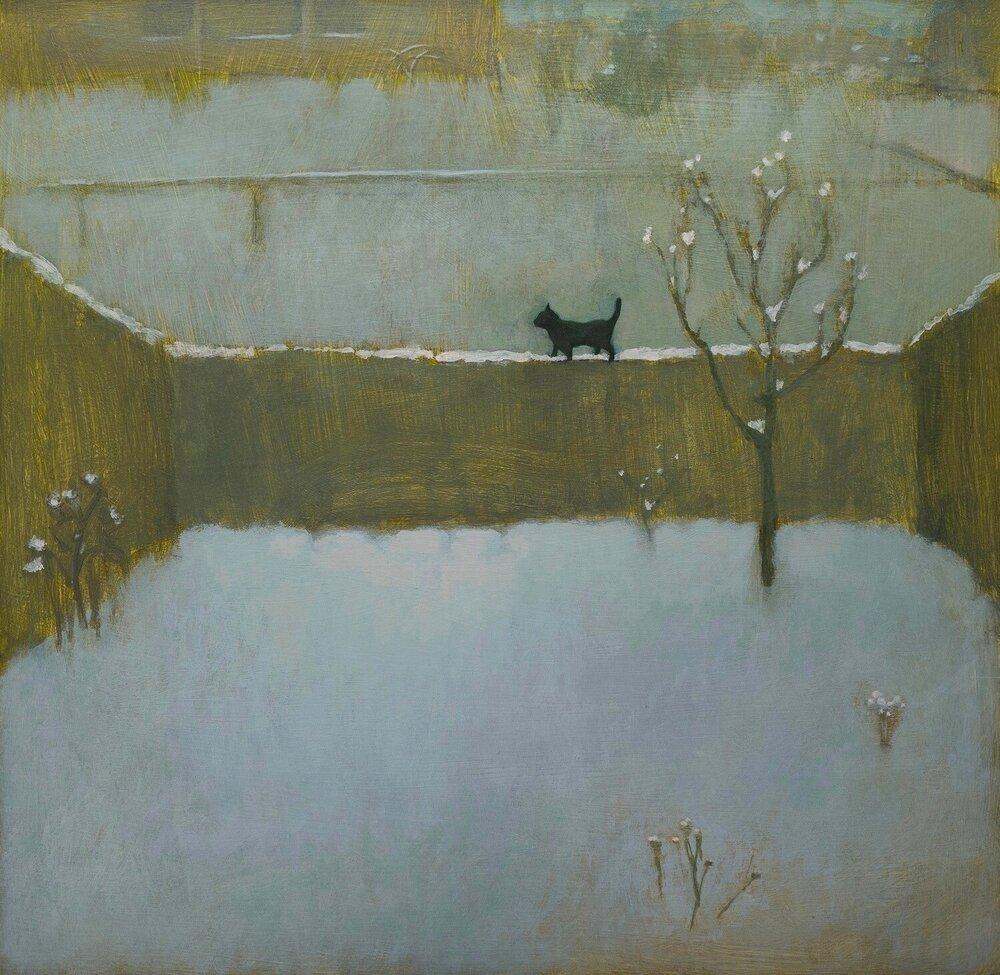"Winter (Black Cat), acrylic on wood, 17 1/2 x 17 1/2"""