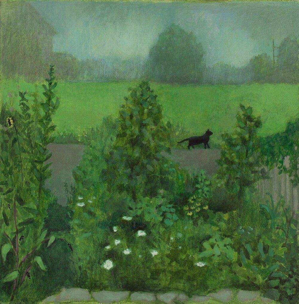 "Summer (Black Cat), acrylic on wood, 16 x 16"""