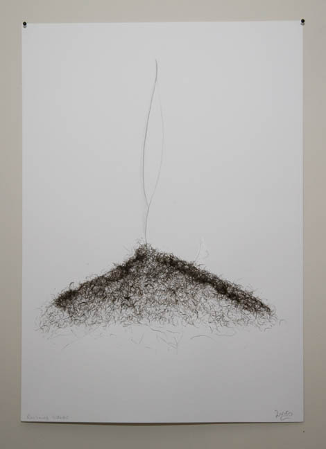 Lara Mumby-Croft, Reclining Nude #2. Facial hair, glue and pencil on paper, 300 x 420mm