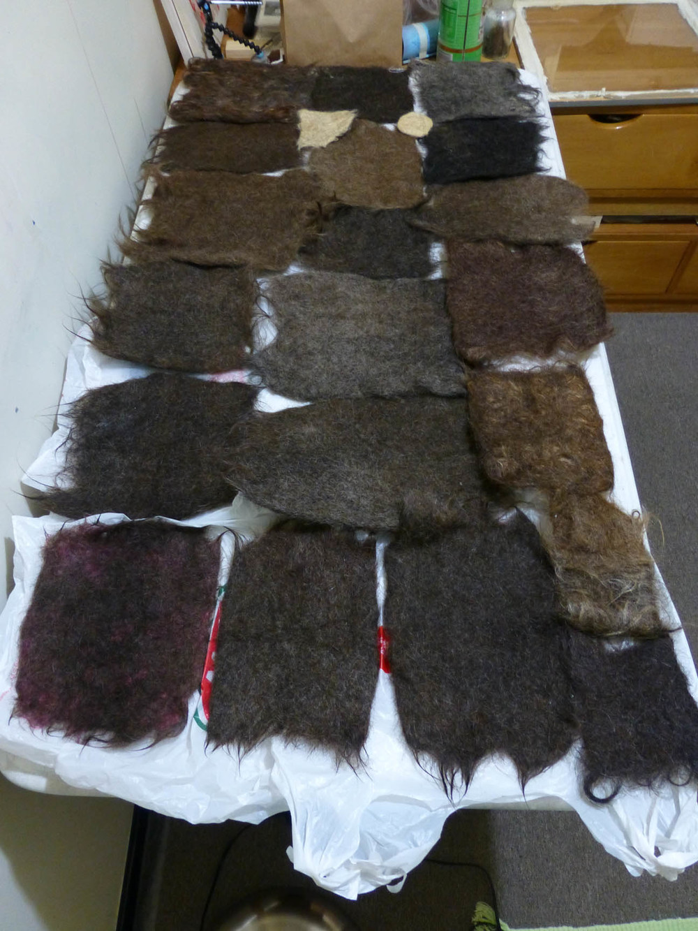 Felted Hair Tiles. Mane Rug.