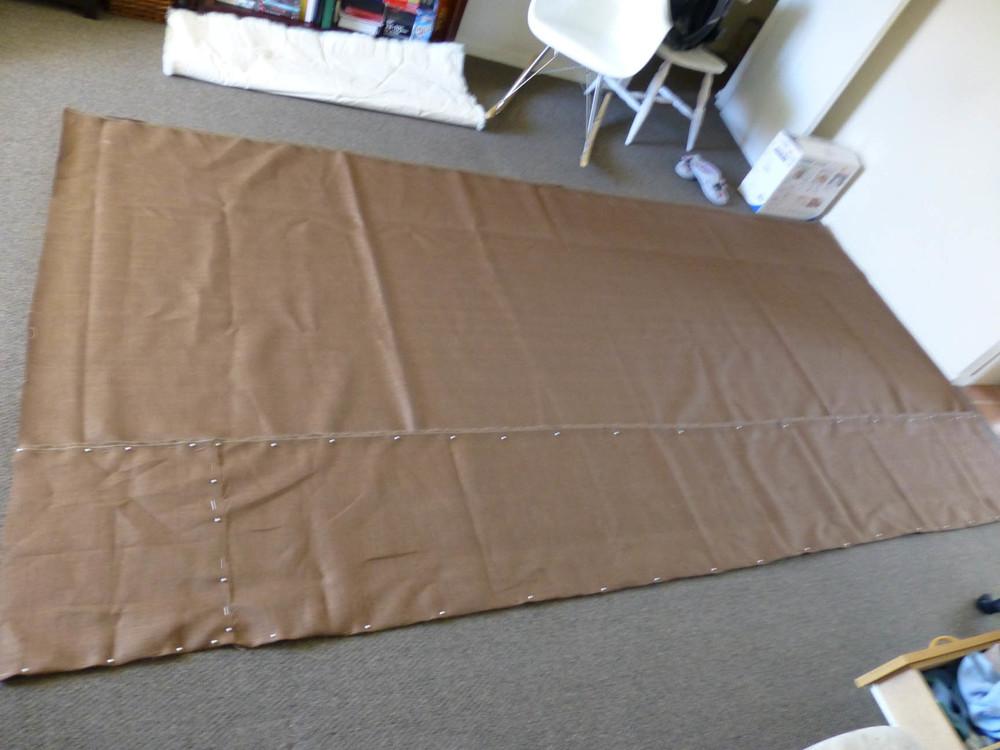 Lara Mumby-Croft. 2013. The making of the rug base (Hessian).