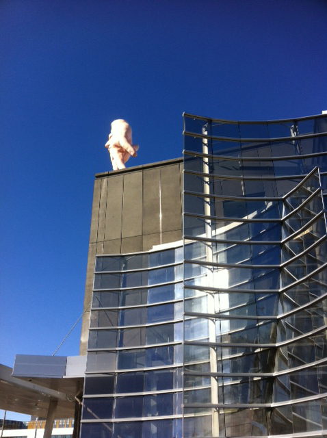 Ronnie van Hout's Quasi on the roof of Christchurch Art Gallery.