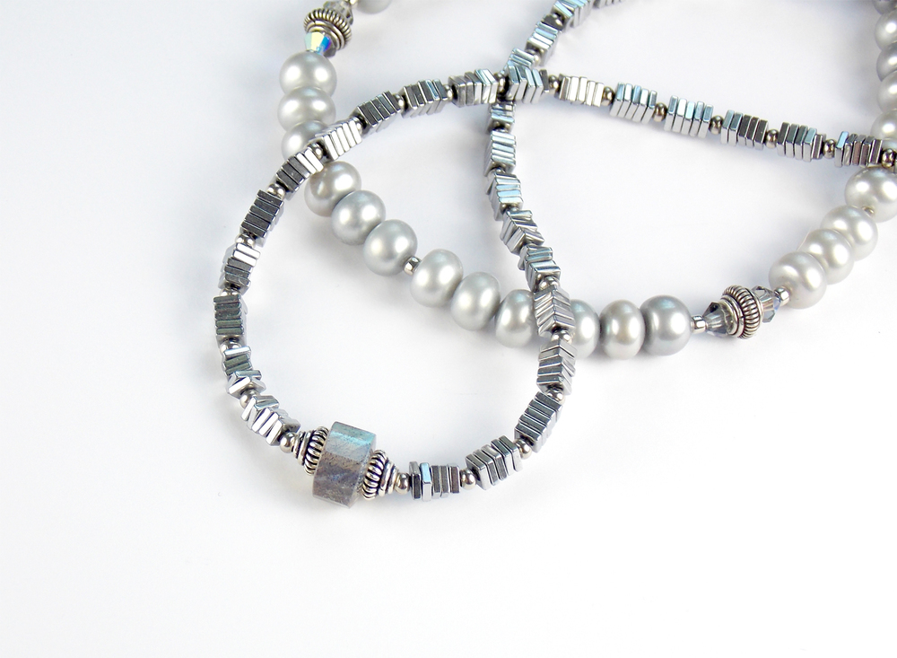 titanium plated hematite and gray pearl necklaces.jpg