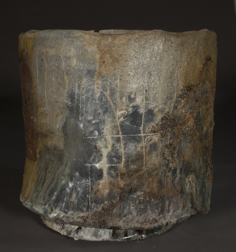 Drinking Vessel      Stoneware  Underglaze, slips and glaze  ^ 13 Wood Fire