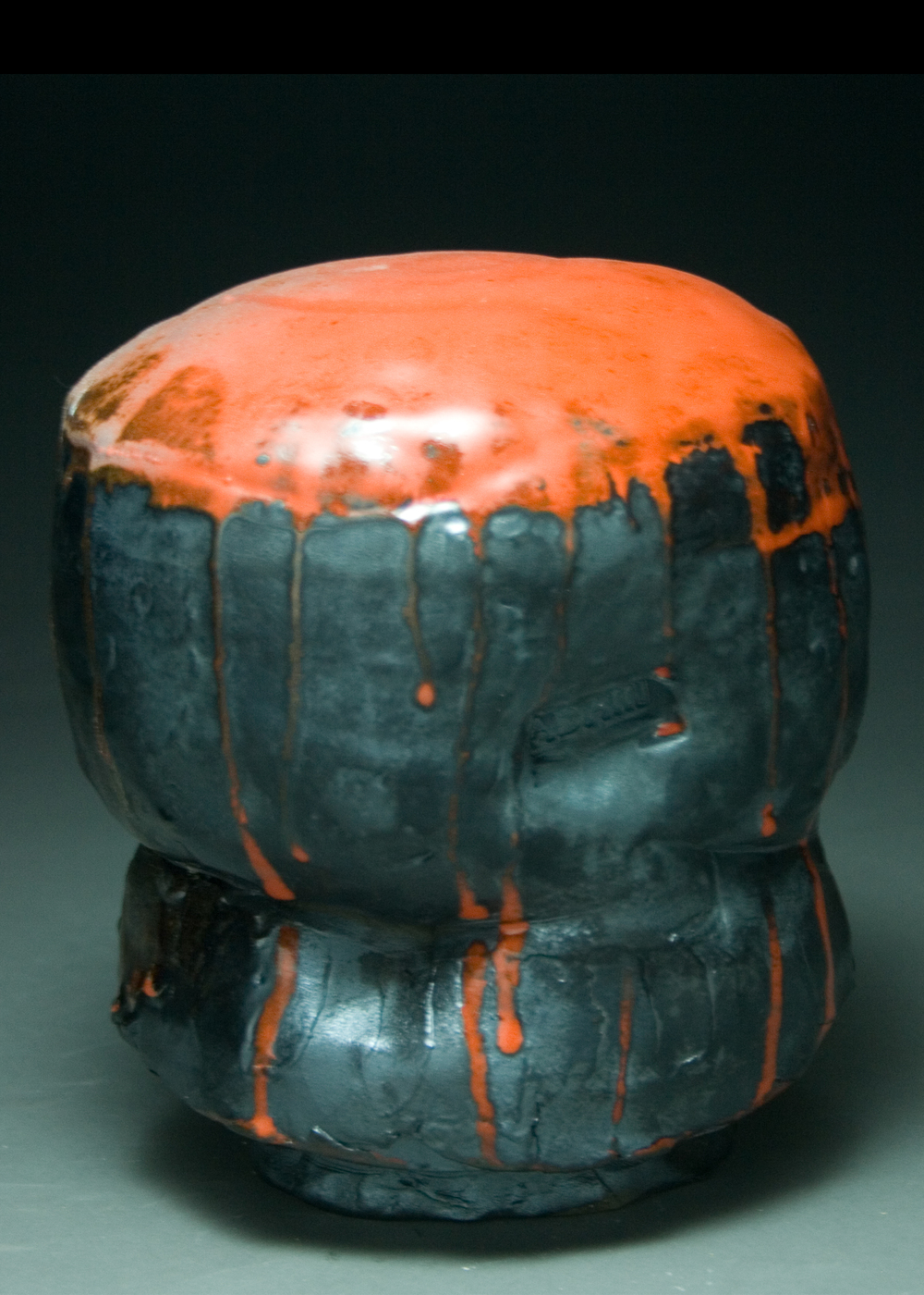 Orange and Black Tea Bowl  Black Stoneware  Glaze  ^11 Wood Fire