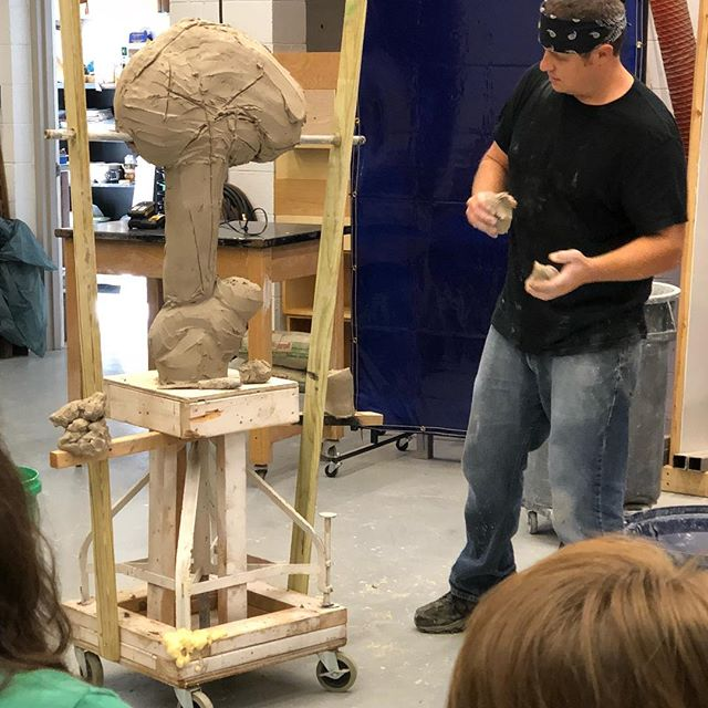 Brian Somerville [ @claybeasts ] starting his clay sculpture demonstration yesterday. #moreheadstateceramics