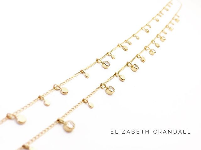 W❤️W. These bespoke necklaces using my client's family diamonds & recycled 14k gold are going to be hard to part with. 😍 What do you think?  #elizabethcrandalljewelry #responsiblefinejewelry #sustainablefinejewelry