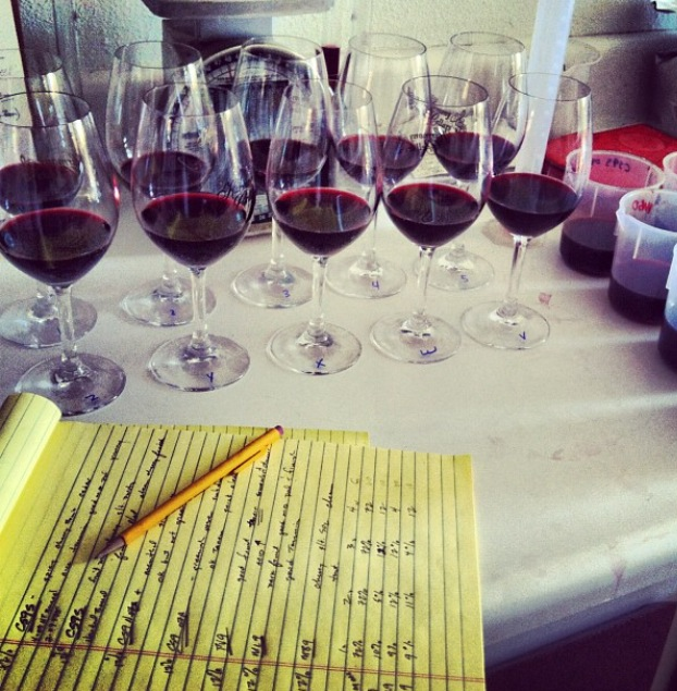 A recent blend trial at Best Coast Wines HQ. Those scribbles on the legal pad? That's the science part.